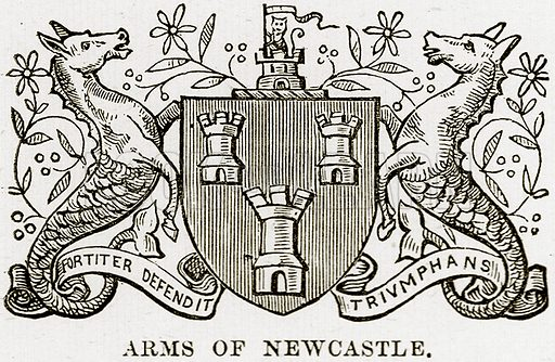 Arms of Newcastle. Illustration from Our Own Country (Cassell, c 1890).