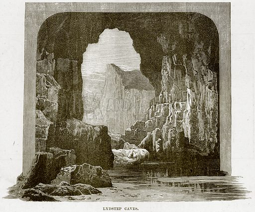Lydstep Caves. Illustration from Our Own Country (Cassell, c 1890).