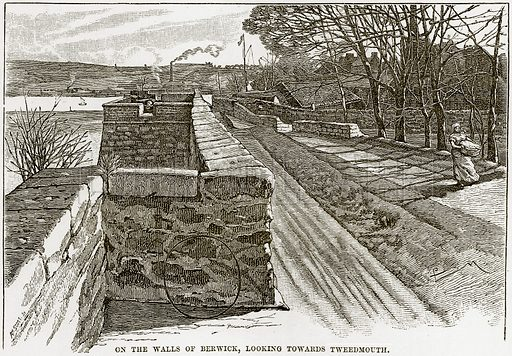 On the Walls of Berwick, looking towards Tweedmouth. Illustration from Our Own Country (Cassell, c 1890).