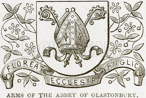 Arms of the Abbey of Glastonbury. Illustration from Our Own Country (Cassell, c 1890).