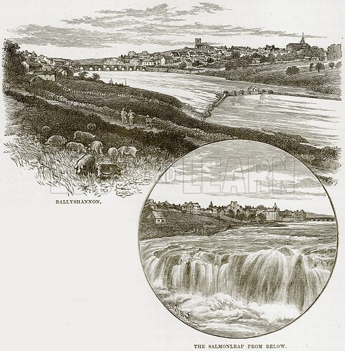Ballyshannon. The Salmonleap from below. Illustration from Our Own Country (Cassell, c 1890).
