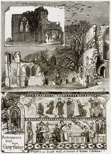 Presco on South Wall of Chancel of Easby Church. East End of Refectory. South West Corner. Kitchen. West End Refectory. Illustration from Our Own Country (Cassell, c 1890).