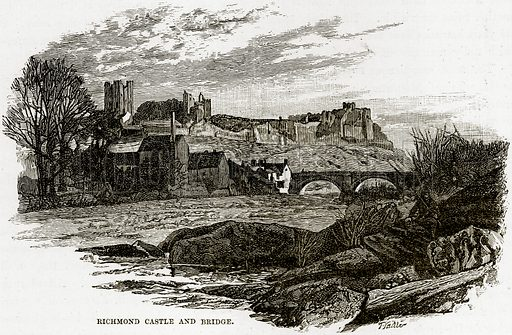Richmond Castle and Bridge. Illustration from Our Own Country (Cassell, c 1890).