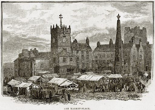 The Market-Place. Illustration from Our Own Country (Cassell, c 1890).