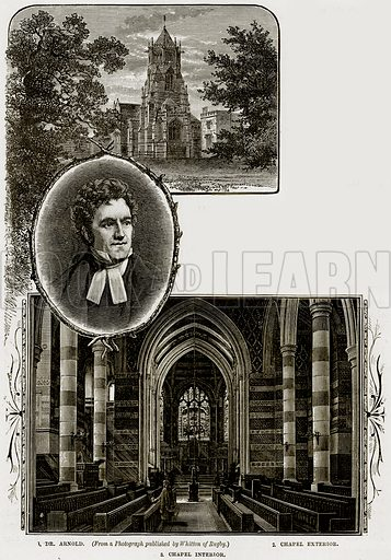 1. Dr Arnold. 2. Chaple Exterior. 3. Chapel Interior. Illustration from Our Own Country (Cassell, c 1890).