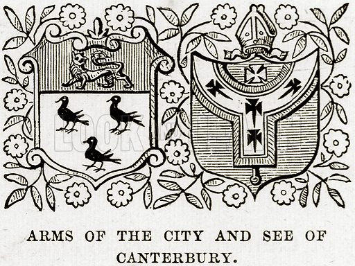 Arms of the City and See of Canterbury. Illustration from Our Own Country (Cassell, c 1890).