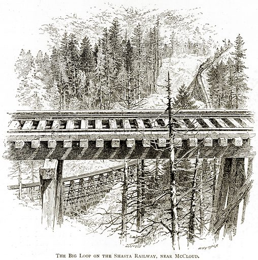 The Big Loop on the Shasta Railway, Near McCloud. Illustration from United States Pictures by Richard Lovett (Religious Tract Society, 1891).