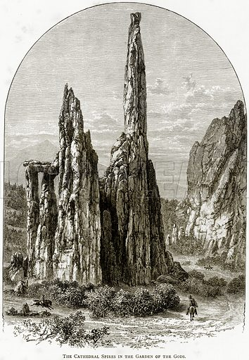 The Cathedral Spires in the Garden of the Gods. Illustration from United States Pictures by Richard Lovett (Religious Tract Society, 1891).