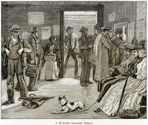 A Wayside Railway Depot. Illustration from United States Pictures by Richard Lovett (Religious Tract Society, 1891).