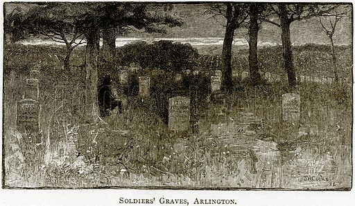 Soldiers' Graves, Arlington. Illustration from United States Pictures by Richard Lovett (Religious Tract Society, 1891).