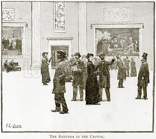 The Rotunda in the Capitol. Illustration from United States Pictures by Richard Lovett (Religious Tract Society, 1891).