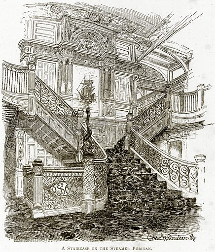 A Staircase on the Steamer Puritan. Illustration from United States Pictures by Richard Lovett (Religious Tract Society, 1891).