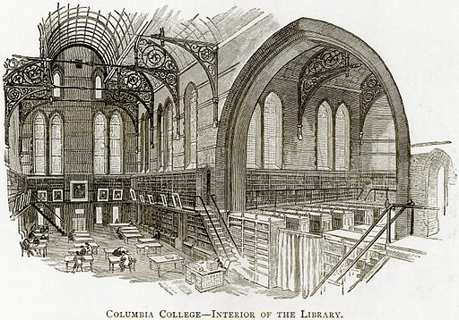 Columbia College – Interior of the Library. Illustration from United States Pictures by Richard Lovett (Religious Tract Society, 1891).