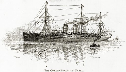 The Cunard Steamship Umbria. Illustration from United States Pictures by Richard Lovett (Religious Tract Society, 1891).