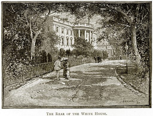 The Rear of the White House. Illustration from United States Pictures by Richard Lovett (Religious Tract Society, 1891).