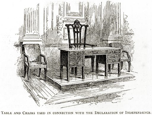 Table and Chairs used in Connection with the Declaration of Independence. Illustration from United States Pictures by Richard Lovett (Religious Tract Society, 1891).