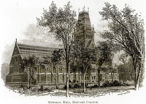 Memorial Hall, Harvard College. Illustration from United States Pictures by Richard Lovett (Religious Tract Society, 1891).