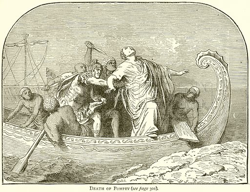 Death of Pompey. Illustration from Epochs and Episodes of History (Ward Lock, c 1880).