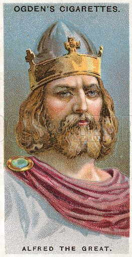 Alfred the Great. Illustration from Ogden's cigarette card series on Leaders of Men issued in 1924.