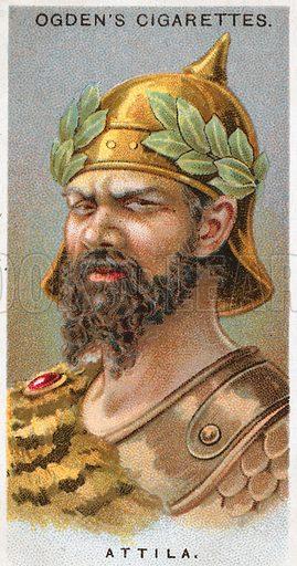 Attila. Illustration from Ogden's cigarette card series on Leaders of Men issued in 1924.
