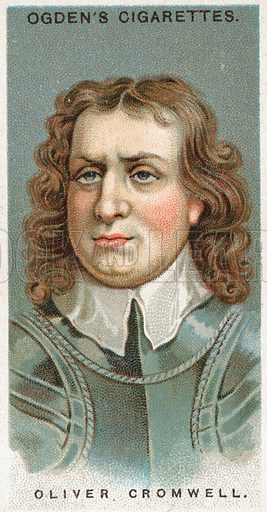 Oliver Cromwell. Illustration from Ogden's cigarette card series on Leaders of Men issued in 1924.