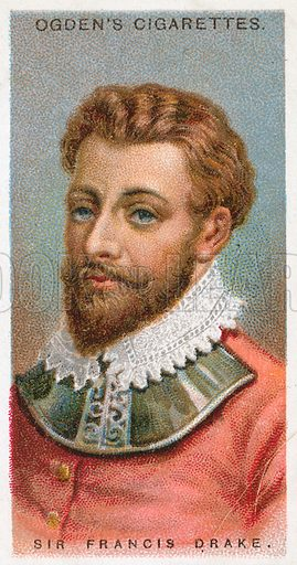 Sir Francis Drake. Illustration from Ogden's cigarette card series on Leaders of Men issued in 1924.