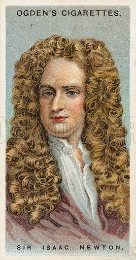 Sir Isaac Newton. Illustration from Ogden's cigarette card series on Leaders of Men issued in 1924.