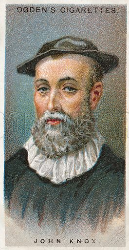 John Knox. Illustration from Ogden's cigarette card series on Leaders of Men issued in 1924.