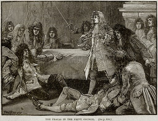 The Fracas in the Privy Council. Illustration from Cassell's History of England (special edition, A W Cowan, c 1890).