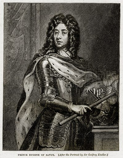 Prince Eugene of Savoy. Illustration from Cassell's History of England (special edition, AW Cowan, c 1890).