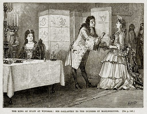 The King of Spain at Windsor: His Gallantry to the Duchess of Marlborough. Illustration from Cassell's History of England (special edition, AW Cowan, c 1890).
