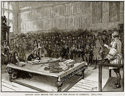Captain Kidd before the Bar of the House of Commons. Illustration from Cassell's History of England (special edition, AW Cowan, c 1890).
