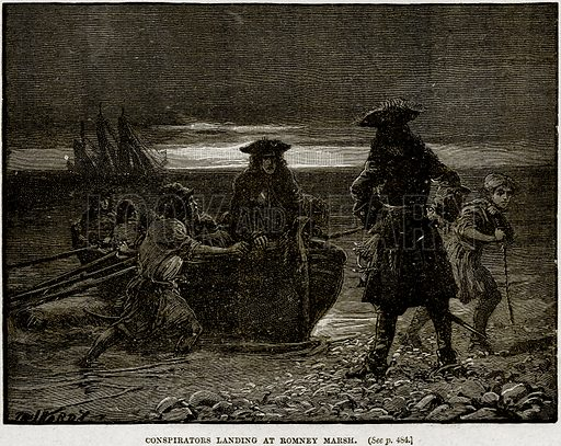 Conspirators Landing at Romney Marsh. Illustration from Cassell's History of England (special edition, AW Cowan, c 1890).