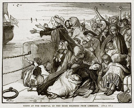Scene at the removal of the Irish Soldiers from Limerick. Illustration from Cassell's History of England (special edition, AW Cowan, c 1890).