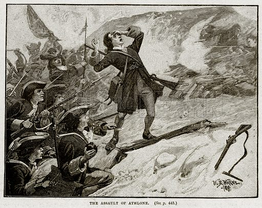 The Assault of Athlone. Illustration from Cassell's History of England (special edition, AW Cowan, c 1890).