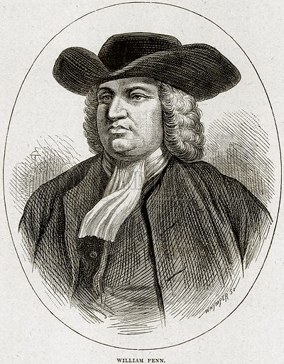 William Penn. Illustration from Cassell's History of England (special edition, AW Cowan, c 1890).