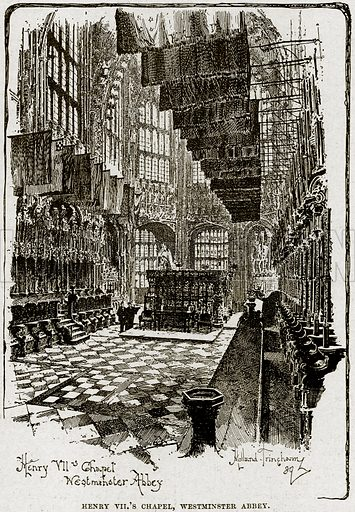 Henry VII's Chapel, Westminster Abbey. Illustration from Cassell's History of England (special edition, AW Cowan, c 1890).