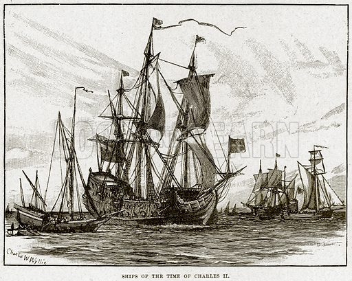 Ship of the Time of Charles II. Illustration from Cassell's History of England (special edition, AW Cowan, c 1890).