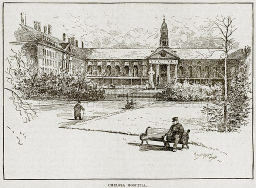 Chelsea Hospital. Illustration from Cassell's History of England (special edition, AW Cowan, c 1890).