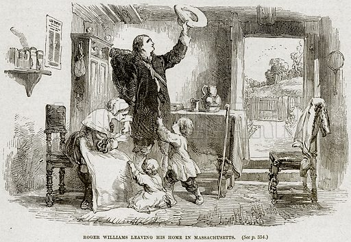 Roger Williams leaving his Home in Massachusetts. Illustration from Cassell's History of England (special edition, AW Cowan, c 1890).