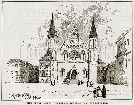 View in the Hague: The Hall of the Knights in the Binnenhof. Illustration from Cassell's History of England (special edition, AW Cowan, c 1890).