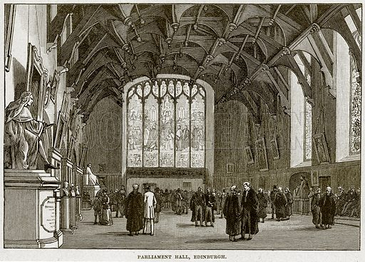 Parliament Hall, Edinburgh. Illustration from Cassell's History of England (special edition, AW Cowan, c 1890).