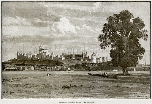Windsor Castle, from the Brocas. Illustration from Cassell's History of England (special edition, AW Cowan, c 1890).
