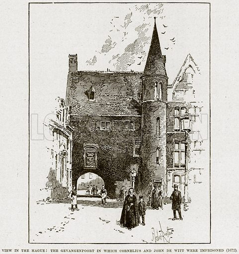 View in the Hague: The Gevangenpoort in which Cornelius and John de Witt were imprisoned (1672). Illustration from Cassell's History of England (special edition, AW Cowan, c 1890).