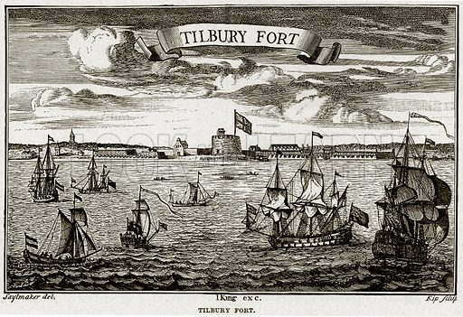 Tilbury Fort. Illustration from Cassell's History of England (special edition, AW Cowan, c 1890).