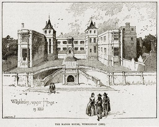 The Manor House, Wimbledon (1660). Illustration from Cassell's History of England (special edition, AW Cowan, c 1890).