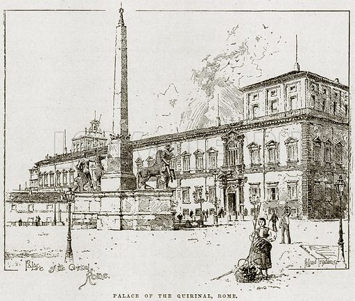 Palace of the Quirinal, Rome. Illustration from Cassell's History of England (special edition, AW Cowan, c 1890).