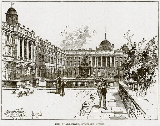 The Quadrangle, Somerset House. Illustration from Cassell's History of England (special edition, AW Cowan, c 1890).
