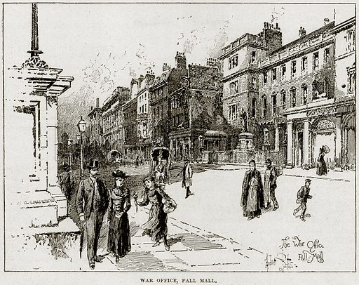 War Office, Pall Mall. Illustration from Cassell's History of England (special edition, AW Cowan, c 1890).