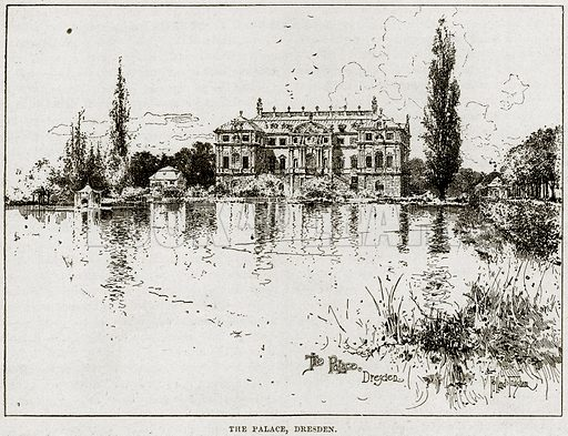 The Palace, Dresden. Illustration from Cassell's History of England (special edition, AW Cowan, c 1890).